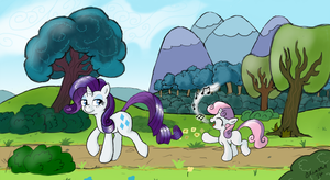Rarity and Sweetie Belle on a Stroll by StarOrca