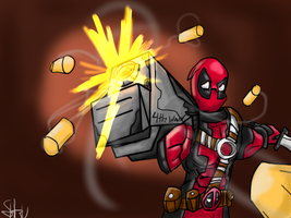 Gunslinging Deadpool by elrixz