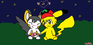 Ashchu and iris as pokemon by beachpichu90