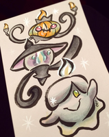 Pokemon // Art Trade // Shiny Ghosts by adrawer4ever
