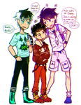 The Secret Trio: Weird Day Clothes by Washichan
