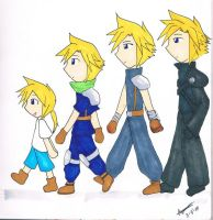 FFVII - Cloud Evolution by mickeythebluemagic