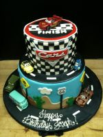 Two Tiered Cars Cake by Spudnuts