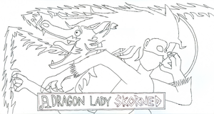 A Dragon Lady Skorned LINEART by gyroc1