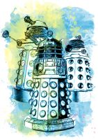 Dalek Watercolor Mixed Media Digital Painting by Juliets-Designs
