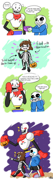 Trick or Treating Skeletons by sugaryDragon413