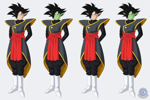 Zamasu + Goku Black Fusion ~black hair options by ovidiocleto