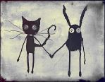Cat and Bunny by andrahilde