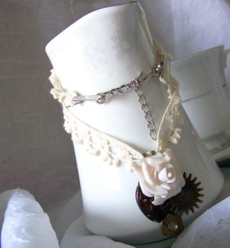 Steampunk Mini.Rose Necklace by WattCouture