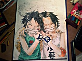 Ace and Ruffy by MediumiX