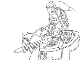 Link and Epona line art by Kennysniper1