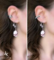 Roses silver earrings and ear cuffs by JuliaKotreJewelry