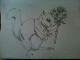Sam the squirrel with a flower by Gingerluchador