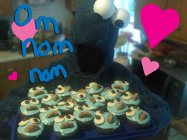 Cookie Monster Cupcake Minions by Celedeen