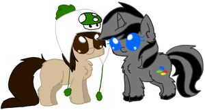 Paid PC by AbbyTehKitty - Me/Piptony fluffy pony by x-Darkie-x