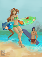 Surf with me (Flora and Helia) by Lonome