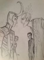 Loki, Hades, Pitch, and an OC by Livyscissorelf