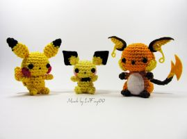 Chibi Electric Mice Evolutions - Amigurumi by LeFay00
