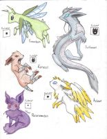 Eeveelutions part 1 .:colored: by TheRaspberryFox