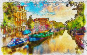 Amsterdam-netherlands watercolor by Azadn