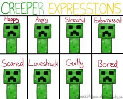 A Creeper's Expressions by Piggyplum