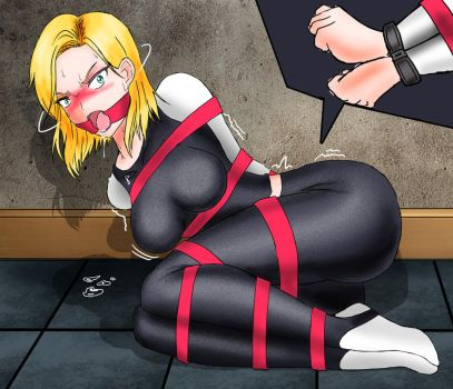Commision Android 18 Bound and Ringgagged by ryuu01
