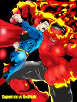 SUPERMAN vs RED HULK by gagex07