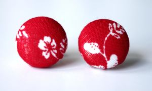 Red handmade stud earrings by KooKooCraft