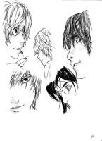 Death Note 12 sketchings. by GreenSyndrome68