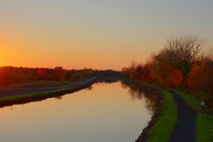 Fall Sunset Over Canal by drywall420