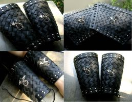 Custom Bracers - Two Silver Dragon Black Leather by LadyPirotessa