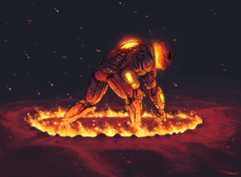 Fiery entrance by land-walker