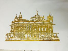 The Golden Temple - Papercutting Artwork by tusifahmad1