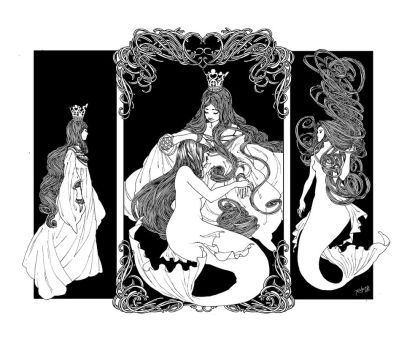 Queen and Mermaid triptych by trungles