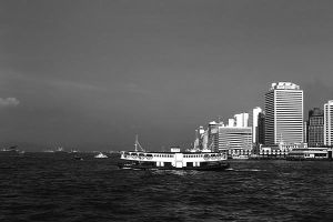 China Hong Kong boat skyscraper sea 1970s by BlackWhitePictures