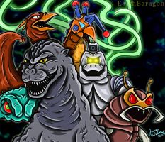 Godzilla And His Foes by earthbaragon