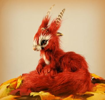 Red Squirrel Doll - poseable fantasy creature by RikerCreatures