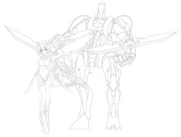 mecha nurse line art by yingwu