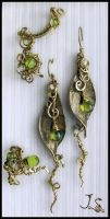 Set Ear cuff and earrings, ring - Seasons. Spring by JSjewelry