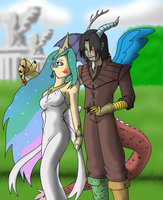 Humanized Discord and Celestia by mattwilson83