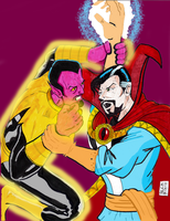 DOCTOR STRANGE vs SINESTRO by gagex07