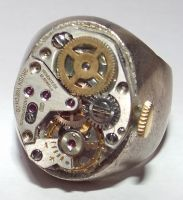 Watch movement sterling silver ring by randomasusual