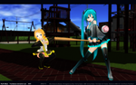 MMD Miku and Rin playing baseball by Trackdancer