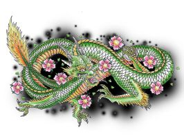 Green japanese dragon by JOVictory