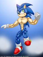 Muscular Sonic 2 by ginkaze