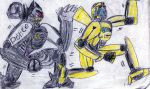 Barricade chase after Bumblebee by JayZeeTee16