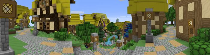 Minecraft Town Panorama by MongoTheManiac