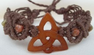 red jade celtic knot bracelet by HempLady4u