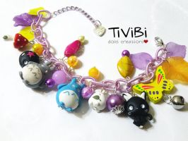 Colorful bracelet Totoro inspired - again by tivibi
