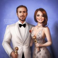 Golden Globes: Ryan Gosling and Emma Stone by daekazu